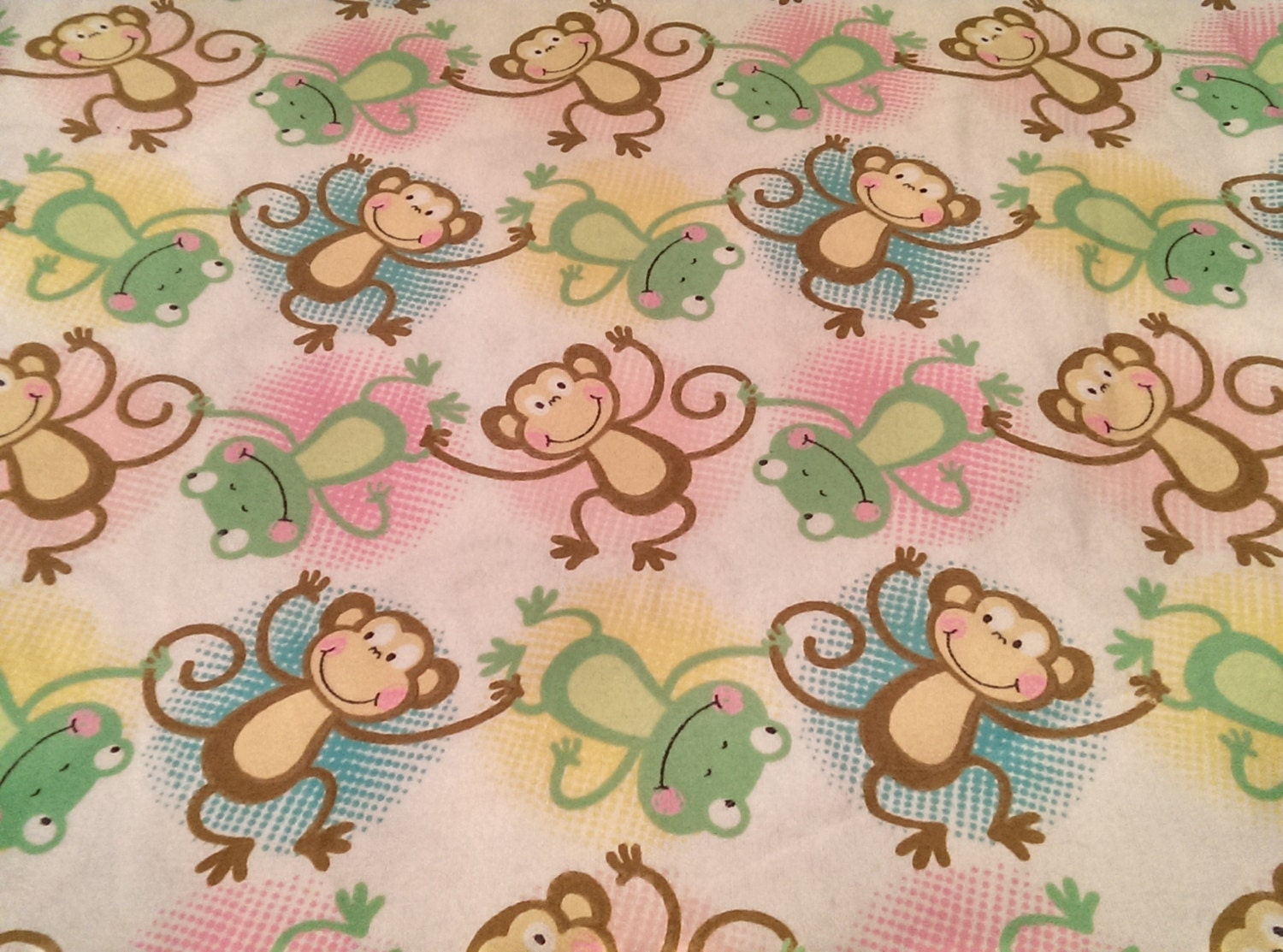 Brown monkey green frog flannel fabric kids fabric baby for Fabric for kids clothes