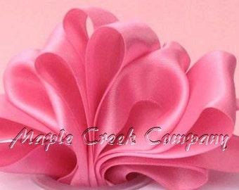 "Hot Pink Double Face Satin Ribbon, 5 Widths Available: 1-1/2"", 7/8"", 5/8"", 3/8"", 1/4"""