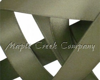 "5 yards Soft Pine (Willow) Double Face Satin Ribbon, 5 Widths Available:  1-1/2"", 7/8"", 5/8"", 3/8"", 1/4"""