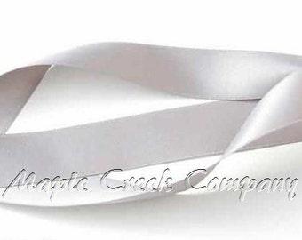 "5 yards of Silver Gray Satin Single Face Ribbon, 5/8"" wide"