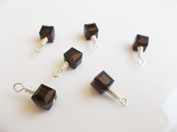 Handmade Swarovski 5601 Mocca 6mm Faceted Cube Silver Charms