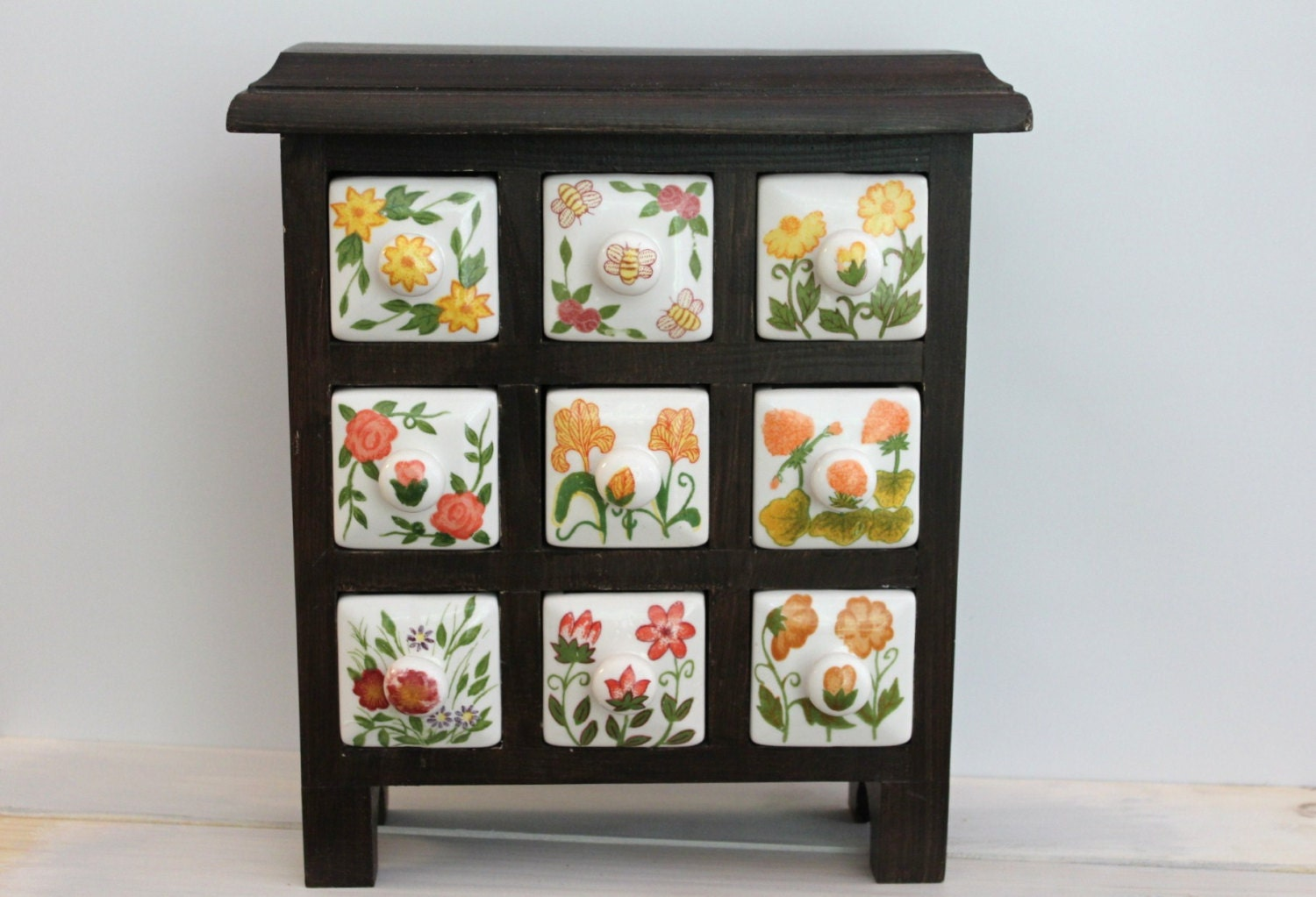 Wooden Spice or Tea Cabinet with 9 ceramic drawers