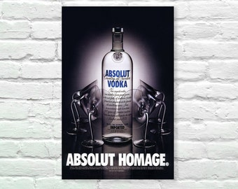 "Absolute Vodka - Absolute Homage Art Print, Illustration, Art Posters, Dorm Decor, Minimalist Art, Vintage Advertising Poster 13"" x 19"""