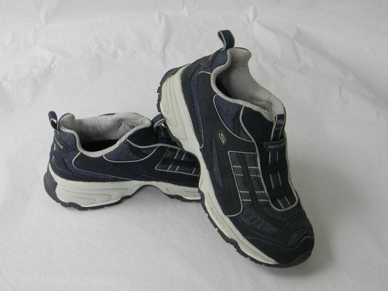 vintage skechers tennis shoes slip ons blue denim trendy