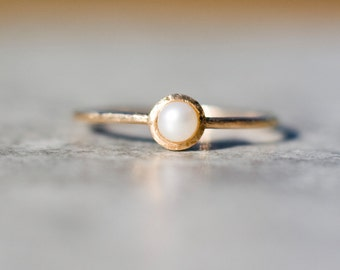 Tiny  pearl ring in 14k gold, pearl engagement ring, solid 14k gold, freshwater pearl, customized