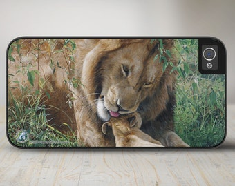 "50-3504 ""Father's Day"" Lion iPhone 5 Case, iPhone 5s Case, iPhone 4/4s Case Protective Phone Cases"