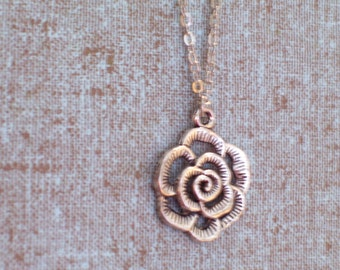 Antiqued Silver Rose Pendant Necklace, Flower Pendant, Antiqued Silver Plated Chain