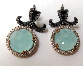 Aqua chalcedony  Turkish earrings. Rose and blackened sterling silver