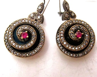 Ruby with clear zircons artisan 925 sterling silver Turkish earrings