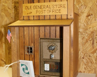 Ole General Store and Post Office Bank with an original Post Office door.