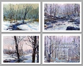 Snow Showers - Set of 6 NOTE CARDS - Watercolor Paintings by Linda Henry (NCWC073)