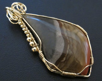 Large Jasper Stone Pendant Gold Filled Wire Wrap Necklace