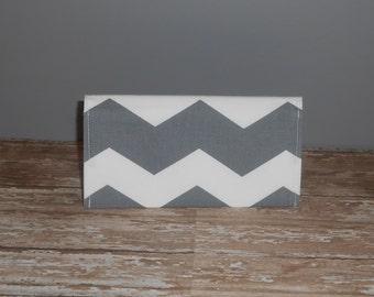 Checkbook Cover - Gray Chevron