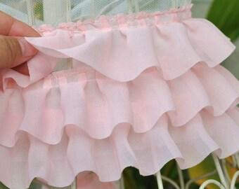 3 Layers High Quality Pink Chiffon Fold Lace Trim DIY Handmade Accessory 10cm wide. 2 yards E1065
