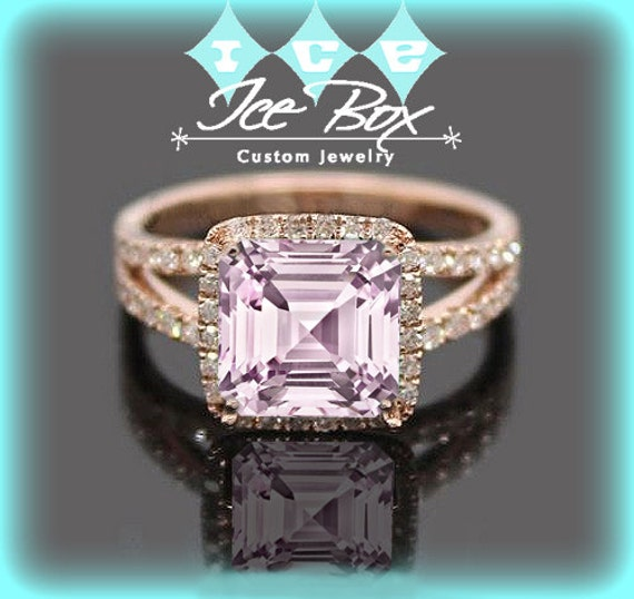 Cultured Pale Pink Sapphire Engagement Ring 7mm by InTheIceBox