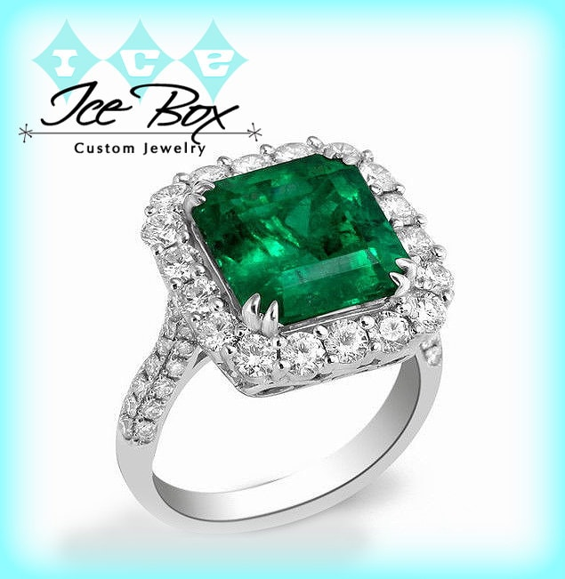 emerald engagement ring 8mm 3 4ct by intheicebox