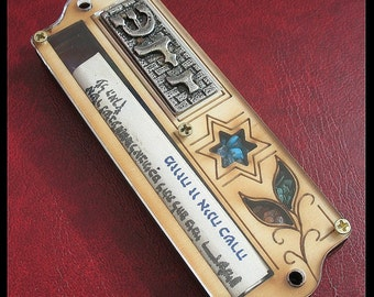 "4"" Cute wood mezuzah with Star of David and non kosher scroll from Israel mezuza torah"
