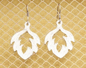 Rhodium Plated, Simple Sterling Silver Earwire, Silhouette Leaf Charm, Earring