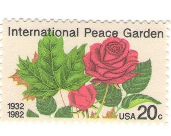10 Unused 1982 International Peace Garden - Red Roses - Vintage Postage Stamps Number 2014