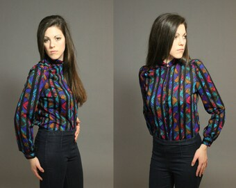 Vintage 70s High Neck Blouse - Multicolored Psychedelic Secretary Button-up with Black Stripes