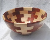Hand-turned segmented bowl, reclaimed maple and cherry, large