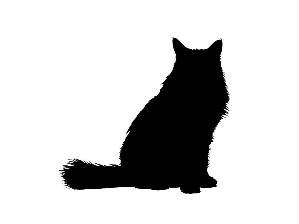 Download Clip Art of a Fluffy Cat Silhouette | Pets! | Pinterest ...