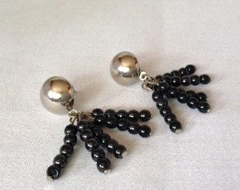 "Beaded Dangle Earrings 1.5"" In Length, Gun Metal Grey"