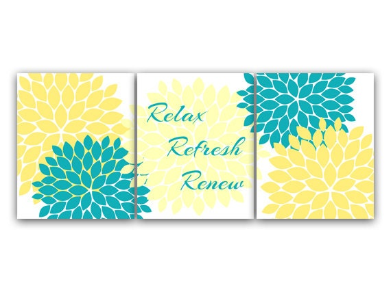 Bathroom canvas wall art relax refresh renew yellow and - Yellow and turquoise bathroom ...