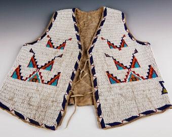 Antique Plains Indian Beaded Sioux Childs Vest