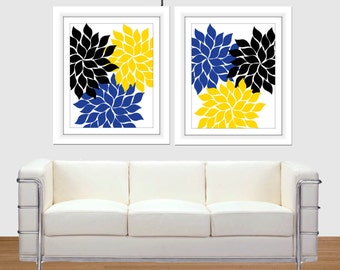 Royal Blue Wall Art Etsy - Blue and yellow home decor
