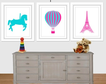 French girl room set, Carousel horse, hot air baloon, eiffel tower, hot pink, turquoise, nursery wall art, girl wall art, Printable wall art