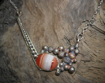 Sterling silver set of banded agate necklace