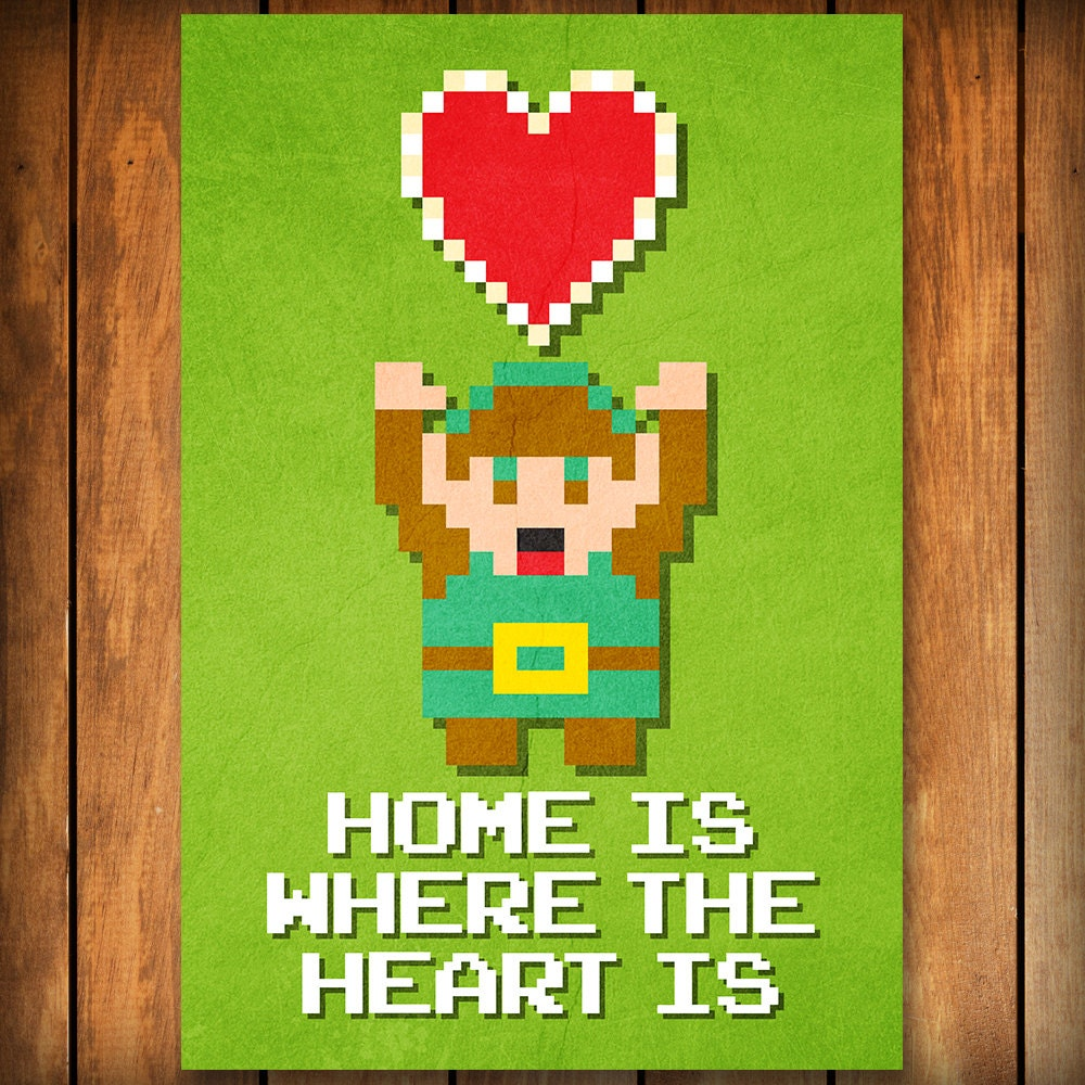 home is where the heart is legend of zelda poster print. Black Bedroom Furniture Sets. Home Design Ideas