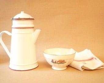 Vintage Enamel Coffee Pot - French vintage enamelware  Café au lait / White and Red enamel