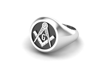 Men's Masonic ring in solid sterling silver