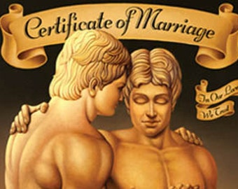 Gay Wedding Certificate Gay Wedding Same Sex Marriage - Certificate Keepsake 12x16 Print