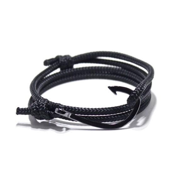Fish hook bracelet in black men 39 s bracelet by portuniontrading for Mens fishing bracelet