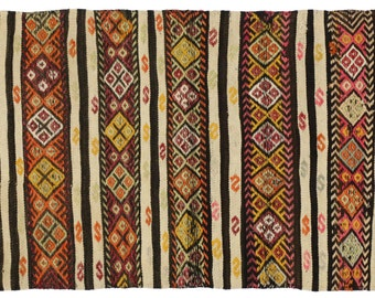 Turkish Kilim. Handwoven wool vintage Kilim Multi Color designs.