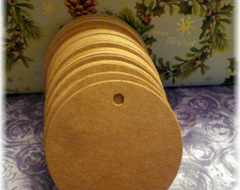 50  Round Kraft Blank Gift / Jewellery Hang Tags with string