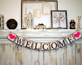WELCOME BANNER - Rustic Banner Bridal Shower Banner  Banners - Wedding Banner - Engagement Party Decoration - Photo Prop