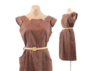 Vintage 40s 50s Day Dress Maroon Paisley Dress Sleeveless Dress Wiggle Dress Womens Fashion 1940s 1950s Medium M Large L Country Fair