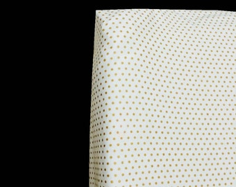 Crib Sheets ~ White with Gold Dots