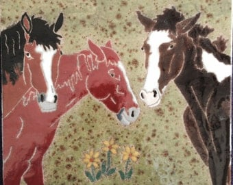 Three horses hand-glazed tile