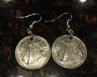 Barbados 25 cents coin earrings
