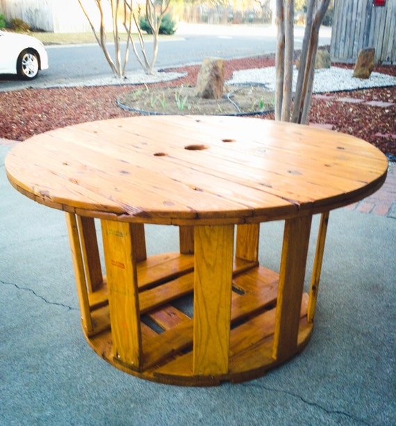Items similar to large wooden spool table on etsy for Large wooden spools used for tables