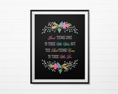 Printable Art - Good things come to those who wait - Floral Laurels on Black - Printable Wall Art Instant Download