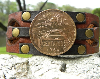 Customized to your wrist size Genuine Buffalo Bison leather handmade cuff bracelet wristband Real Large Aztec Pyramid coin