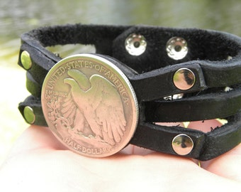 Authentic Walking Liberty Half dollar coin bracelet Customized your wrist Genuine Buffalo Bison leather handmade cuff bracelet wristband