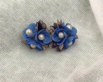 Vintage Retro Blue Flowers Earrings
