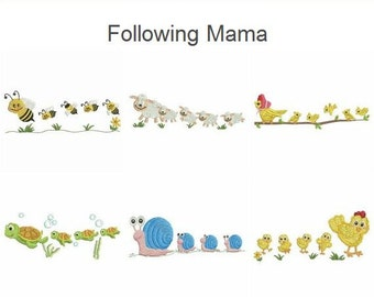Following Mama Baby Heirloom Quilt Machine Embroidery Designs Pack Instant Download 5x5 hoop 10 designs APE1860